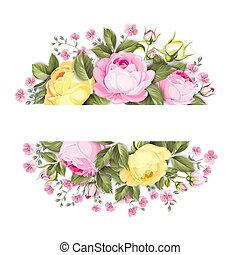 Floral bouquet with branch of roses in oval label with text place.