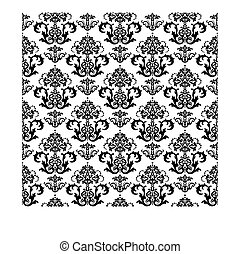 floral, branca, papel parede, pretas, seamless