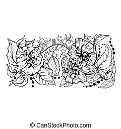 Floral branch hand drawn outline drawing - Floral branch...