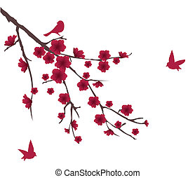floral branch - vector blossom branch with birds