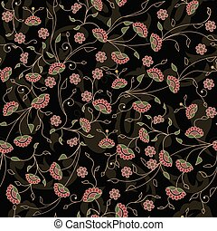 Floral branches seamless repeat pattern in black