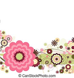 Floral abstract design featuring floral and circle shapes and curved lines on a white background