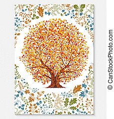 Floral brochure template with autumn tree vector illustration