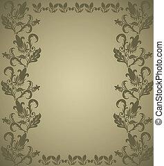 floral, bruine , frame