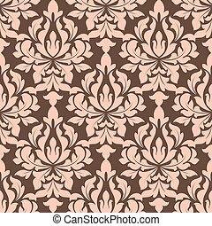 floral, brun, beige, seamless, modèle