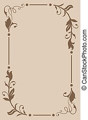 floral, brun, cadre, beige, vendange