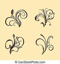 floral, brun, ensemble, elements.