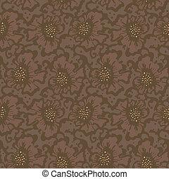 floral, brun, modèle