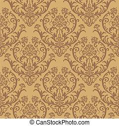 floral, brun, papier peint