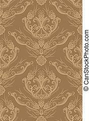 floral, brun, papier peint, luxe