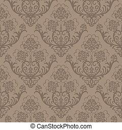 floral, brun, papier peint, seamless