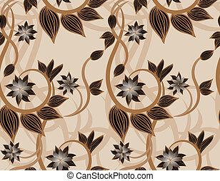 floral, brun, seamless, fond