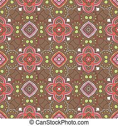 floral, brun, tourbillons, modèle fond
