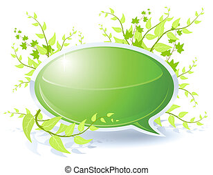 Floral bubble - Floral theme with blank green bubble