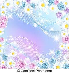 floral, burbujas, flores, magia, plano de fondo