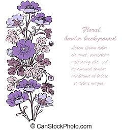 Floral bush retro on white background vector, hand drawn decorat