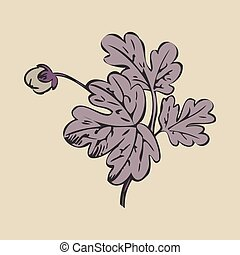 Floral bush retro on white background vector, hand drawn decorat