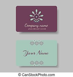 Floral business card collection blue and violet. Vector...