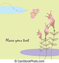 floral, butterf, lente, kaart