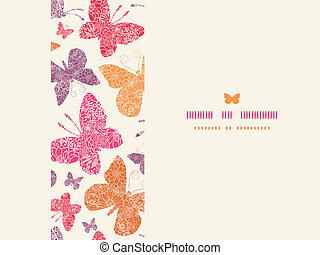 Floral butterflies frame horizontal seamless pattern background