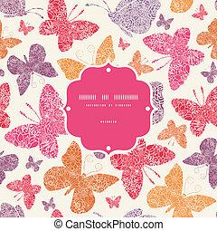 Floral butterflies frame seamless pattern background