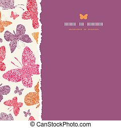 Floral butterflies frame vertical seamless pattern background