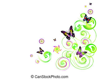 Floral butterflies - Vector different butterflies in the...