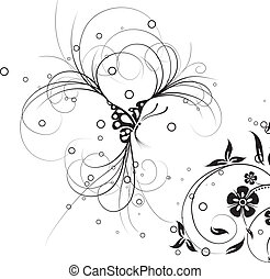 Floral butterfly, vector
