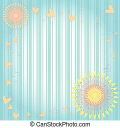 floral, cœurs, carte voeux
