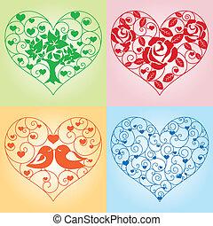 floral, cœurs, ensemble
