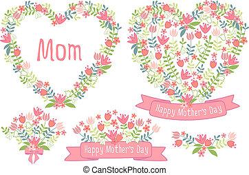 floral, cœurs, jour, heureux, mères