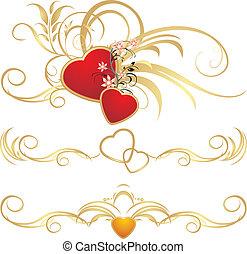 floral, cœurs, ornement