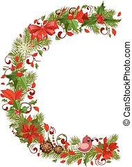 floral, c, arbre, noël, lettre