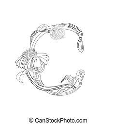 floral, c, fonte, letra