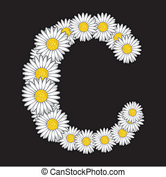 floral, c, lettre