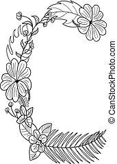 floral, c, ornamento, letra