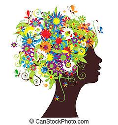 floral, cabeça, silueta