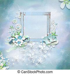 floral, cadre, écriture, espace vide