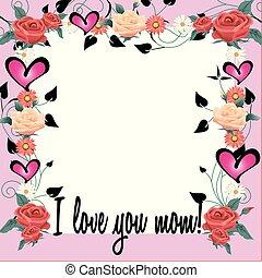 floral, cadre, amour, vous, maman