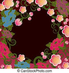 floral, cadre, asiatique