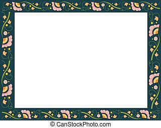 floral, cadre, frontière