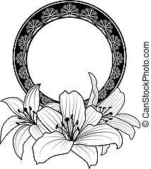 floral, cadre, lis