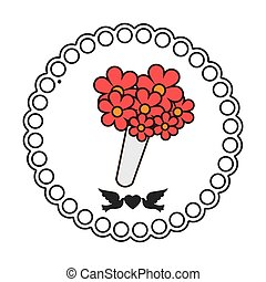 floral, cadre, mariage, icône