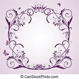 floral, cadre, mariage, violet
