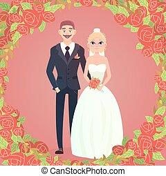 floral, cadre, noce couple, dessin animé