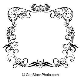 floral, cadre, noir