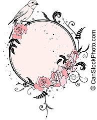 floral, cadre, oiseau