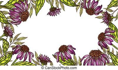floral, cadre, ou, fond