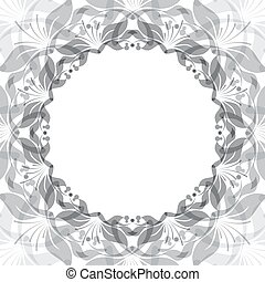 floral, cadre, rond