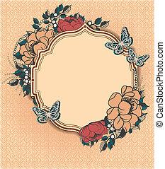 floral, cadre, rond, gabarit